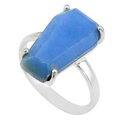 7.66cts coffin solitaire natural blue angelite 925 silver ring size 7 t17326