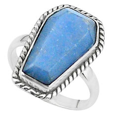 8.06cts coffin solitaire natural blue angelite 925 silver ring size 7 t17483
