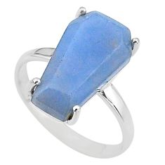 7.66cts coffin solitaire natural blue angelite 925 silver ring size 8 t17332