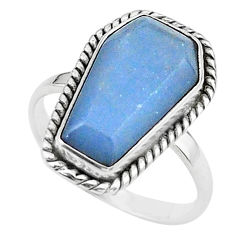 7.69cts coffin solitaire natural blue angelite 925 silver ring size 8 t17482