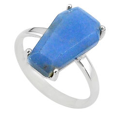 8.56cts coffin solitaire natural blue angelite 925 silver ring size 9 t17328