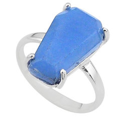 7.66cts coffin solitaire natural blue angelite 925 silver ring size 7.5 t17327