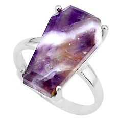 7.66cts coffin solitaire natural chevron amethyst 925 silver ring size 6 t17421