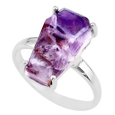 8.40cts coffin solitaire natural chevron amethyst 925 silver ring size 9 t17437