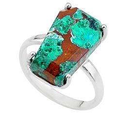 7.17cts coffin solitaire natural green chrysocolla 925 silver ring size 7 t17321