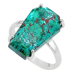 8.12cts coffin solitaire natural green chrysocolla silver ring size 7.5 t17324