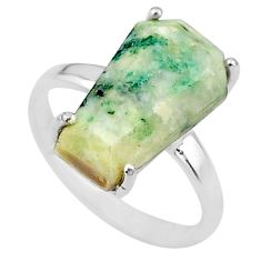 8.49cts coffin solitaire natural green mariposite 925 silver ring size 8 t17316