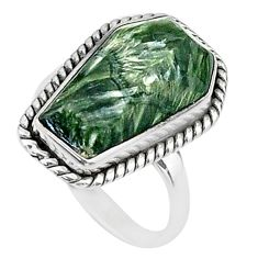 7.25cts coffin solitaire natural green seraphinite 925 silver ring size 6 t17481