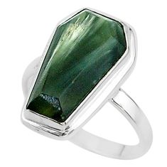 7.69cts coffin solitaire natural green seraphinite 925 silver ring size 7 t17490