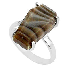 7.63cts coffin solitaire natural imperial jasper 925 silver ring size 6 t17416