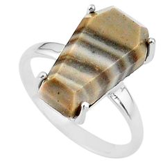 8.10cts coffin solitaire natural imperial jasper 925 silver ring size 8 t17406