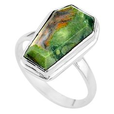 7.24cts coffin solitaire natural imperial jasper 925 silver ring size 8 t17505