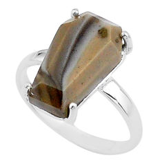 8.07cts coffin solitaire natural imperial jasper 925 silver ring size 9 t17411