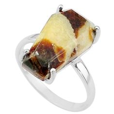7.66cts coffin solitaire natural septarian gonads 925 silver ring size 7 t17403