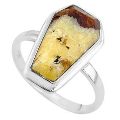 8.09cts coffin solitaire natural septarian gonads 925 silver ring size 9 t17438
