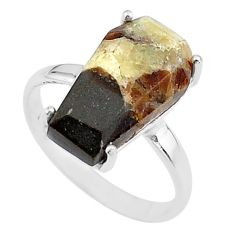 8.07cts coffin solitaire natural septarian gonads silver ring size 8.5 t17418