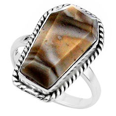 9.83cts coffin solitaire natural striped flint ohio silver ring size 7 t17465