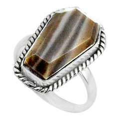 7.67cts coffin solitaire natural striped flint ohio silver ring size 7 t17470