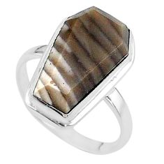 9.86cts coffin solitaire natural striped flint ohio silver ring size 7 t17476