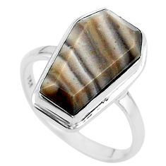 7.25cts coffin solitaire natural striped flint ohio silver ring size 8 t17471