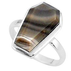 7.65cts coffin solitaire natural striped flint ohio silver ring size 8 t17472