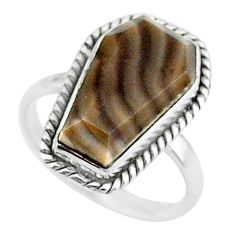9.37cts coffin solitaire natural striped flint ohio silver ring size 8 t17480