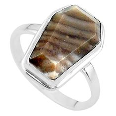 8.06cts coffin solitaire natural striped flint ohio silver ring size 9 t17467