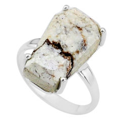 7.68cts coffin solitaire natural wild horse magnesite silver ring size 6 t17372