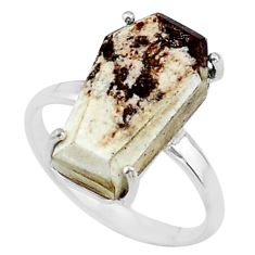 8.56cts coffin solitaire natural wild horse magnesite silver ring size 8 t17374