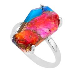 5.87cts coffin spiny oyster arizona turquoise 925 silver ring size 7 r93542