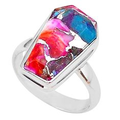 6.85cts coffin spiny oyster arizona turquoise 925 silver ring size 7 r93582
