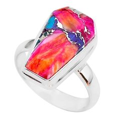 6.26cts coffin spiny oyster arizona turquoise 925 silver ring size 7 r93597