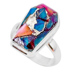 6.85cts coffin spiny oyster arizona turquoise 925 silver ring size 7 r93598