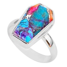 7.33cts coffin spiny oyster arizona turquoise 925 silver ring size 9 r93565