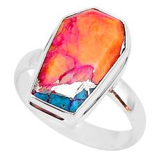 6.76cts coffin spiny oyster arizona turquoise 925 silver ring size 9 r93594