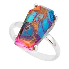 5.92cts coffin spiny oyster arizona turquoise fancy silver ring size 8 r93575