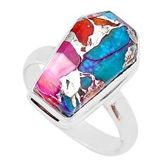 7.38cts coffin spiny oyster arizona turquoise fancy silver ring size 8 r93584