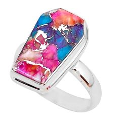7.04cts coffin spiny oyster arizona turquoise fancy silver ring size 8 r93599