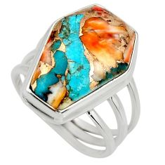 12.83cts coffin spiny oyster arizona turquoise silver ring size 7.5 r27055