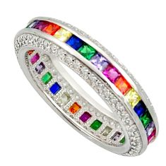 Color infinity band amethyst quartz sapphire (lab) 925 silver ring size 7 c10149