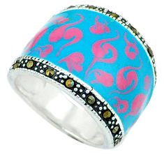 Color of joy marcasite enamel 925 sterling silver ring jewelry size 6.5 c18501