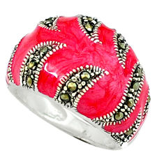 Color of joy marcasite enamel 925 sterling silver ring jewelry size 5.5 c18516
