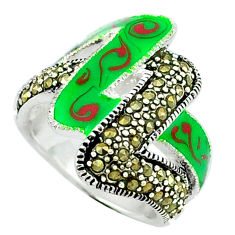 Color of joy marcasite enamel 925 sterling silver ring jewelry size 7.5 c18354