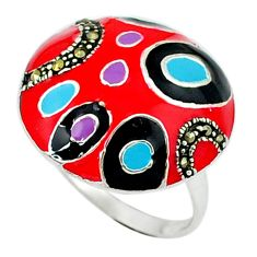 Color of joy marcasite enamel 925 sterling silver ring jewelry size 8 c18323