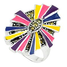 Color of joy marcasite enamel 925 sterling silver ring jewelry size 8 c18499