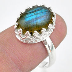 5.68cts crown natural blue labradorite oval 925 silver ring size 8 t43398