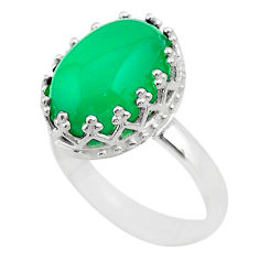 6.47cts crown natural green chalcedony oval 925 silver ring size 8 t43406