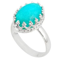 6.26cts crown natural green peruvian amazonite 925 silver ring size 9 t43374