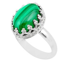 6.80cts crown natural malachite (pilot's stone) silver ring size 7 t43405
