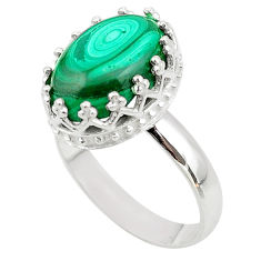 6.48cts crown natural malachite (pilot's stone) silver ring size 8 t43388